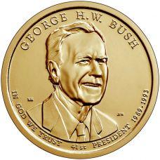 "USA 2020 $1 Presidentti George H. W. Bush ""D"" UNC"