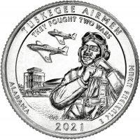 "USA 2021 $0,25 Alabama - Tuskegee Airmen ""D"" UNC"