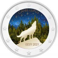 Viro 2021 2 € Viron kansalliseläin - susi #2 VÄRITETTY