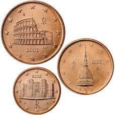 Italia 2002 1 c, 2 c, 5 c Irtokolikot UNC