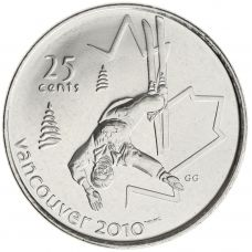 Kanada 2008 25 Cents Vancouver 2010 Freestyle Skiing UNC