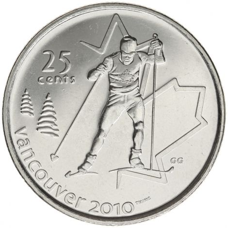 Kanada 2009 25 Cents Vancouver 2010 Cross Country Skiing UNC