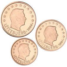 Luxemburg 2006 1 c, 2 c, 5 c Irtokolikot UNC