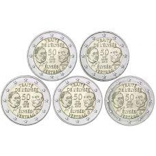 Saksa 2013 2 € Élysée-sopimus 50 vuotta ADFGJ UNC