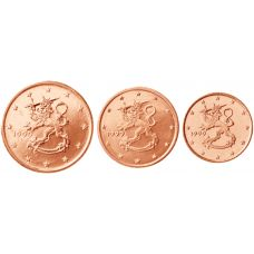 Suomi 1999 1 c, 2 c, 5 c Irtokolikot UNC