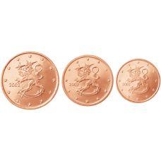 Suomi 2002 1 c, 2 c, 5 c Irtokolikot UNC