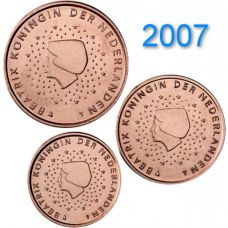 Alankomaat 2007 1 c, 2 c, 5 c Irtokolikot UNC