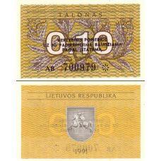 Liettua 1991 0,10 Talonas P29b UNC