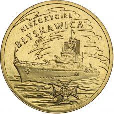 """Puola 2012 2 Złoty Polish Ships - """"Błyskawica"""" Destroyer UNC"""