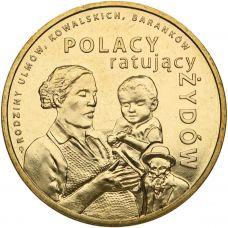 Puola 2012 2 Złoty The Ulma, Baranek and Kowalski Families UNC