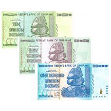 Zimbabwe 10, 50, 100 Trillion Dollars Kokoelma UNC
