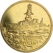 "Puola 2012 2 Złoty Polish Ships - ""Dragon"" Light cruiser UNC"
