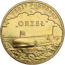 """Puola 2012 2 Złoty Polish Ships - """"Orzeł"""" Submarine UNC"""