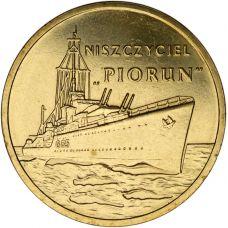 """Puola 2012 2 Złoty Polish Ships - """"Piorun"""" Destroyer UNC"""