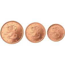 Suomi 2004 1 c, 2 c, 5 c Irtokolikot UNC