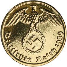 Saksa 1937-1939 1 Reichspfennig KULLATTU