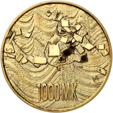 Suomi 1992 1000 Markkaa Itsenäinen Suomi 75v KULTA