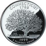 """USA 1999 $0,25 Connecticut """"D"""" UNC"""