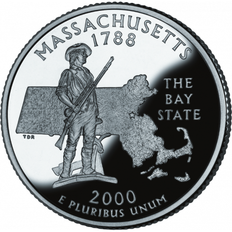 """USA 2000 $0,25 Massachusetts """"P"""" UNC"""