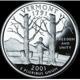 """USA 2001 $0,25 Vermont """"D"""" UNC"""