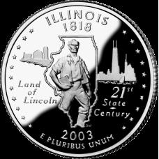 """USA 2003 $0,25 Illinois """"D"""" UNC"""
