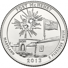 """USA 2013 $0,25 Maryland Fort McHenry National Monument and Historic Shrine """"D"""" UNC"""