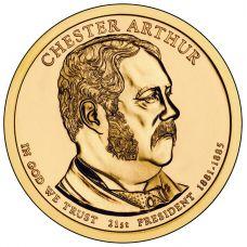 "USA 2012 $1 Presidentti Chester A. Arthur ""D"" UNC"