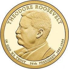 "USA 2013 $1 Presidentti Theodore Roosevelt ""D"" UNC"