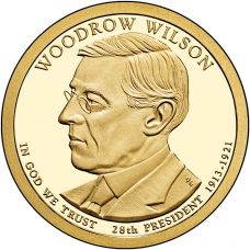 "USA 2013 $1 Presidentti Woodrow Wilson ""D"" UNC"