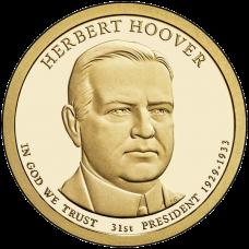 "USA 2014 $1 Presidentti Herbert Hoover ""D"" UNC"