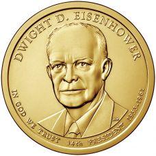 """USA 2015 $1 Presidentti Dwight D. Eisenhower """"D"""" UNC"""