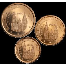 Espanja 2000 1 c, 2 c, 5 c Irtokolikot UNC