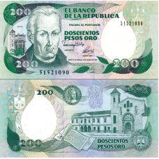 Kolumbia 1983 200 Pesos Oro P429A UNC