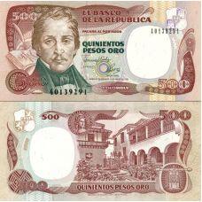Kolumbia 1993 500 Pesos Oro P431A UNC