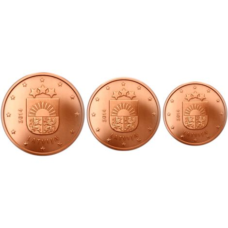 Latvia 2014 1 c, 2 c, 5 c Irtokolikot UNC