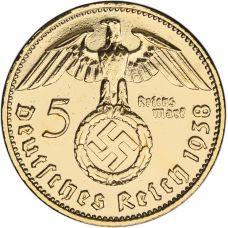 Saksa 1937-1939 5 Reichsmark KULLATTU