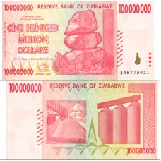Zimbabwe 2008 100 Million Dollars P80 UNC