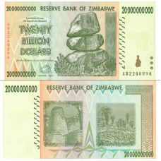 Zimbabwe 2008 20 Billion Dollars P86 UNC