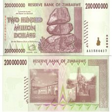 Zimbabwe 2008 200 Million Dollars P81 UNC