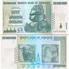 Zimbabwe 2008 50 Million Dollars P79 UNC