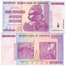 Zimbabwe 2008 500 Million Dollars P82 UNC