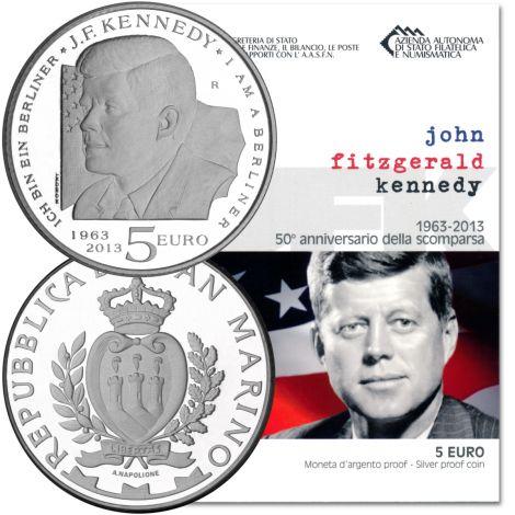 San Marino 2013 5 € John Fitzgerald Kennedy HOPEA PROOF