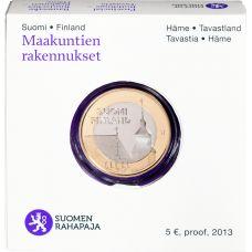 Suomi 2013 5 € Maakuntien rakennukset Häme - Pyhän Laurin kirkko PROOF