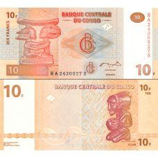 Kongo 2003 10 Francs P93 UNC