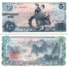 Pohjois-Korea 1978 5 Won P19c UNC