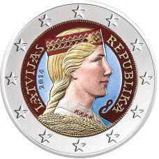 Latvia 2014 2 € VÄRITETTY