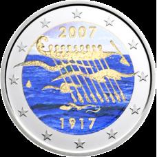 Suomi 2007 2 € Itsenäisyys 90 vuotta VÄRITETTY