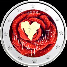 Suomi 2008 2 € Ihmisoikeuksien julistuksen 60. juhlavuosi VÄRITETTY