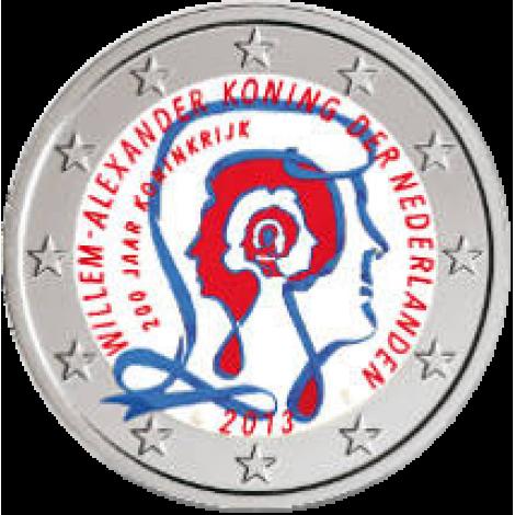 Alankomaat 2013 2 € Kuningaskunta 200 vuotta - Willem-Alexander I VÄRITETTY