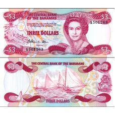 Bahama 1974 3 Dollars P44a UNC